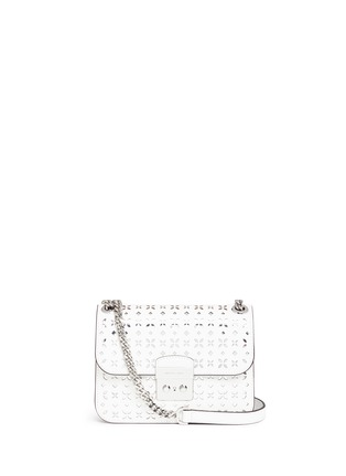 Main View - Click To Enlarge - Michael Kors - 'Solan Editor' medium floral perforated leather bag