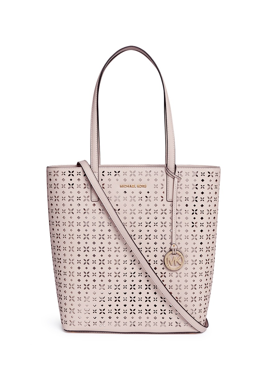 michael kors female hayley large floral perforated leather tote