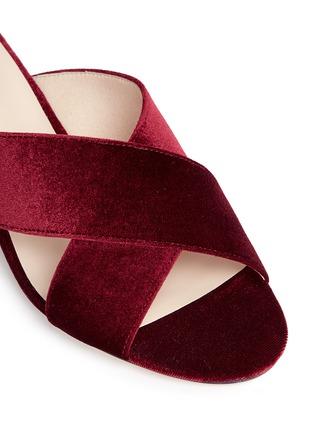 Detail View - Click To Enlarge - Pedder Red - 'Blake' cross vamp velvet mules