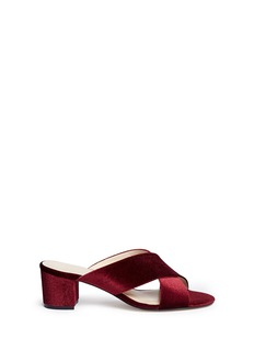 Pedder Red 'Blake' cross vamp velvet mules