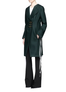 Esteban Cortazar Trigger hook fastener bonded virgin wool coat