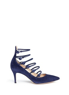 Gianvito Rossi Button caged suede pumps