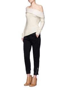 MAIYET Folded off-shoulder cashmere blend sweater