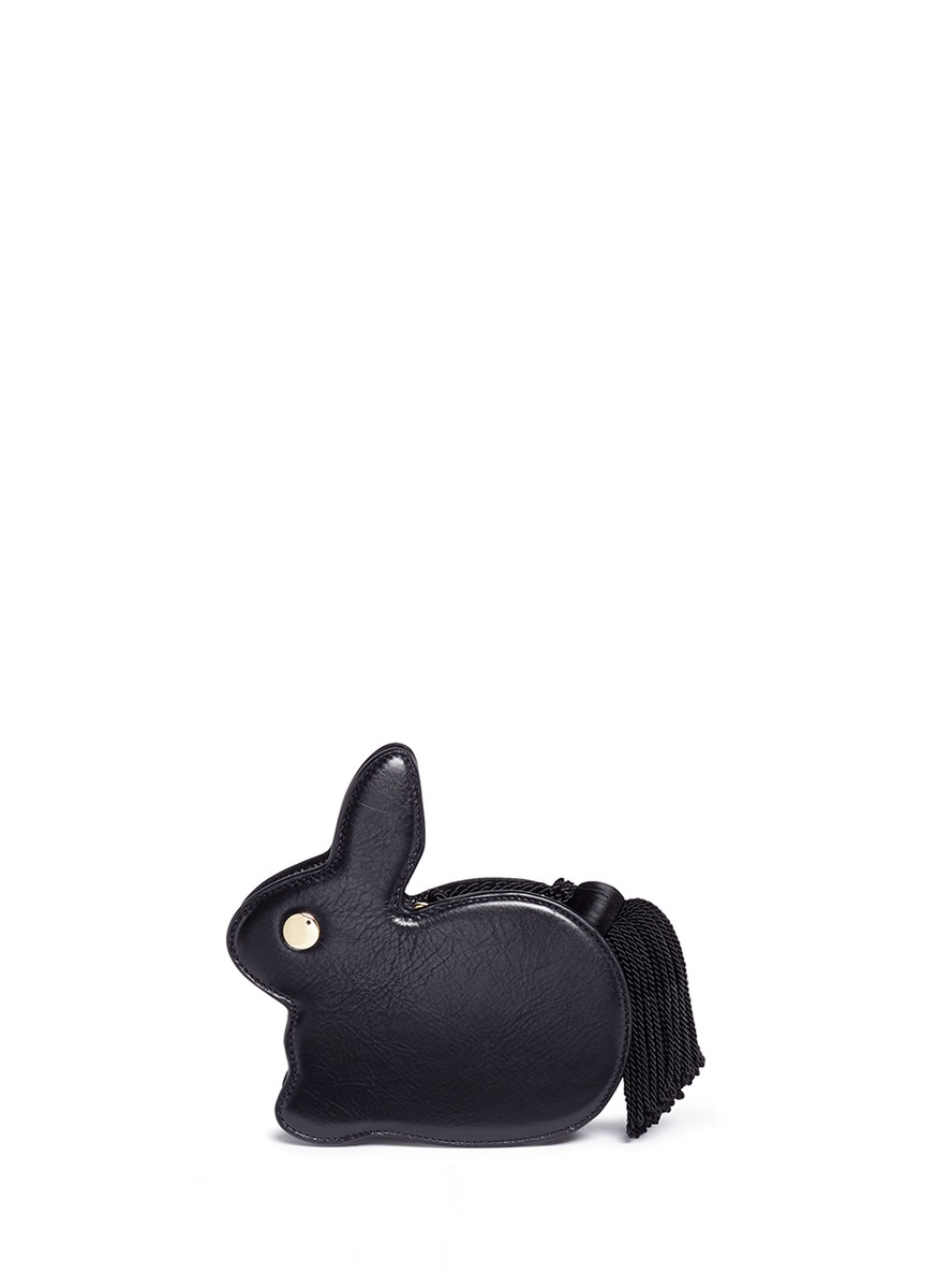 Bunny tassel pull leather clutch by Hillier Bartley
