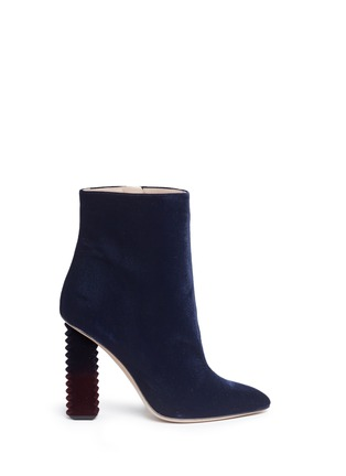 Main View - Click To Enlarge - Aperlai - 'Alice' dégradé jagged heel velvet boots