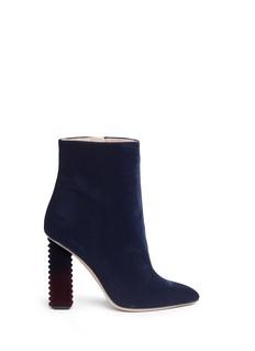 Aperlai'Alice' dégradé jagged heel velvet boots