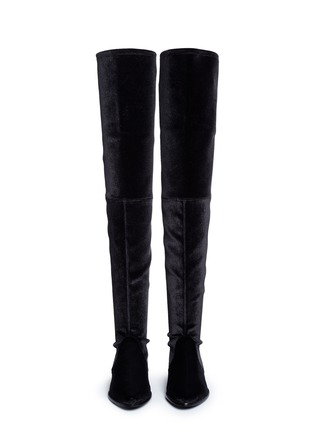 Front View - Click To Enlarge - Stuart Weitzman - 'Leggy Lady' velvet thigh high boots