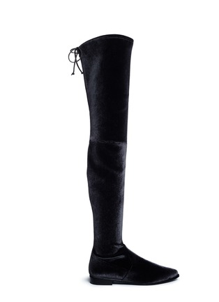 Main View - Click To Enlarge - Stuart Weitzman - 'Leggy Lady' velvet thigh high boots