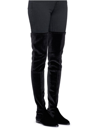 Figure View - Click To Enlarge - Stuart Weitzman - 'Leggy Lady' velvet thigh high boots