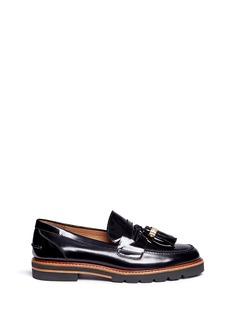 Stuart Weitzman'Manila' logo tassel leather loafers