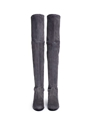 Front View - Click To Enlarge - Stuart Weitzman - 'Tieland' stretch suede thigh high boots