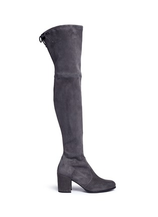 Main View - Click To Enlarge - Stuart Weitzman - 'Tieland' stretch suede thigh high boots