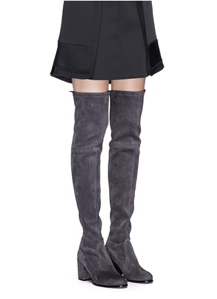 Figure View - Click To Enlarge - Stuart Weitzman - 'Tieland' stretch suede thigh high boots