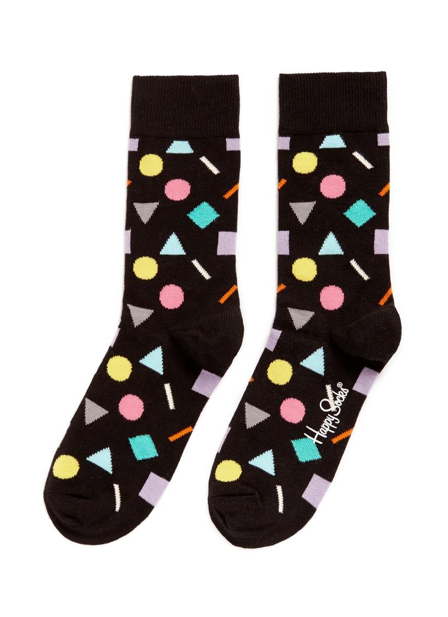 happy socks female play geometric socks