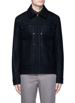 'Metal' eyelet wool blend melton shirt jacket