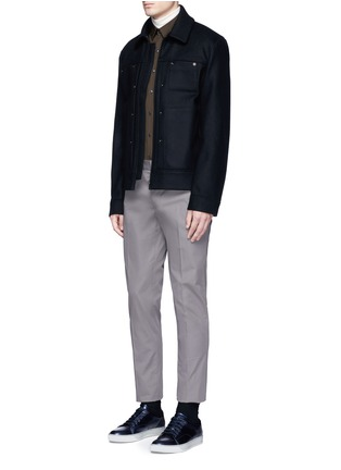 Acne Studios - 'Metal' eyelet wool blend melton shirt jacket