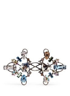 Lanvin 'Ginger' glass crystal metal fretwork ring