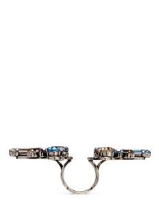 Lanvin'Ginger' glass crystal metal fretwork ring