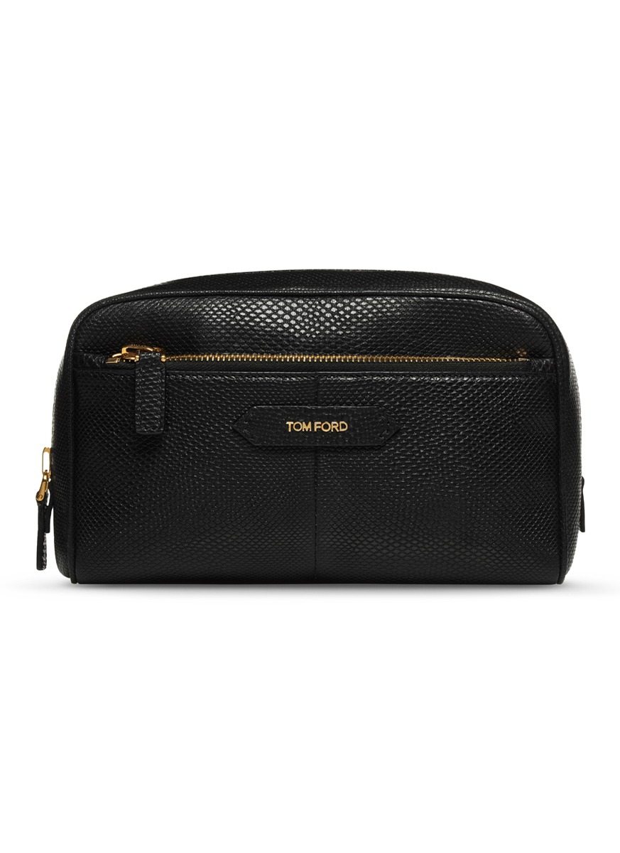 Large snake embossed leather cosmetics bag by Tom Ford Beauty