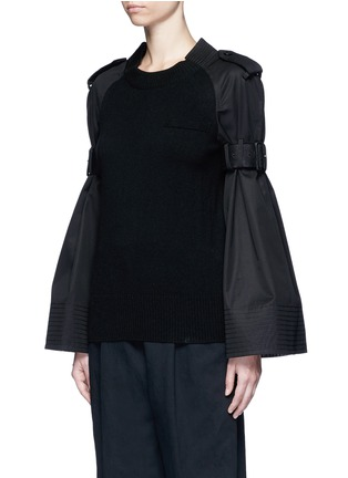 Front View - Click To Enlarge - Sacai - Strap raglan sleeve wool top