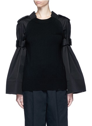 Main View - Click To Enlarge - Sacai - Strap raglan sleeve wool top