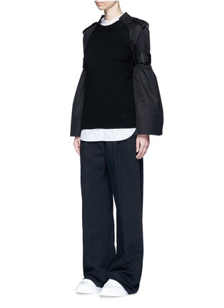 Figure View - Click To Enlarge - Sacai - Strap raglan sleeve wool top