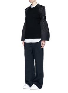 SacaiStrap raglan sleeve wool top