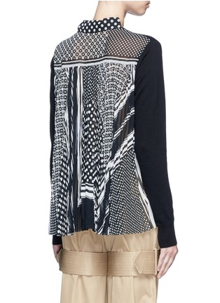 Back View - Click To Enlarge - Sacai - Dot scarf print pleated back knit top