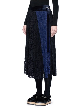 Front View - Click To Enlarge - Sacai - Pleated guipure lace wrap midi skirt
