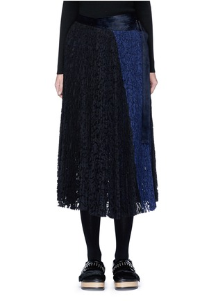 Main View - Click To Enlarge - Sacai - Pleated guipure lace wrap midi skirt