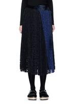 Pleated guipure lace wrap midi skirt