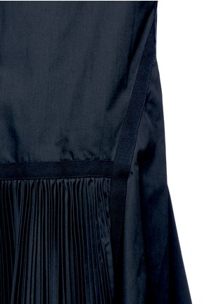 Detail View - Click To Enlarge - Sacai - Velvet collar plissé pleat skirt poplin dress