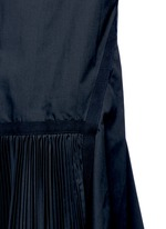 Velvet collar plissé pleat skirt poplin dress