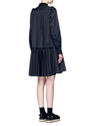 Back View - Click To Enlarge - Sacai - Velvet collar plissé pleat skirt poplin dress