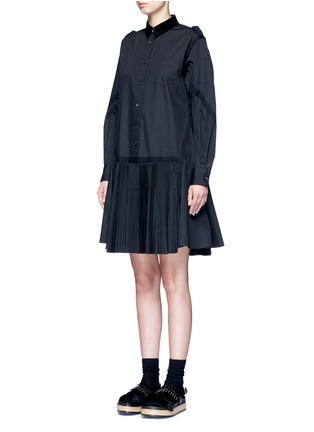 Front View - Click To Enlarge - Sacai - Velvet collar plissé pleat skirt poplin dress