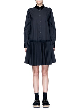 Main View - Click To Enlarge - Sacai - Velvet collar plissé pleat skirt poplin dress