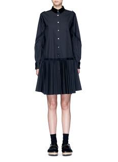 SACAIVelvet collar plissé pleat skirt poplin dress