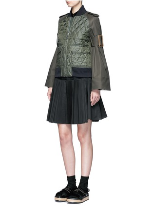 Figure View - Click To Enlarge - Sacai - Velvet collar plissé pleat skirt poplin dress