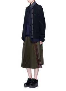 Sacai Mix knit felted wool blend layered coat