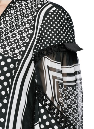 Detail View - Click To Enlarge - Sacai - Dot scarf print neck tie flare dress