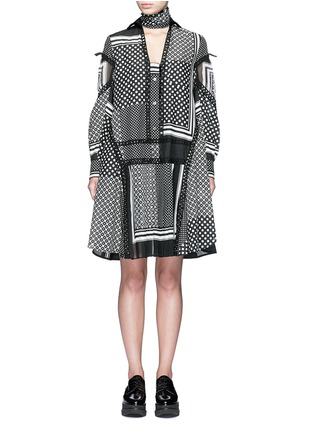 Main View - Click To Enlarge - Sacai - Dot scarf print neck tie flare dress