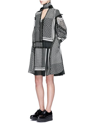 Figure View - Click To Enlarge - Sacai - Dot scarf print neck tie flare dress