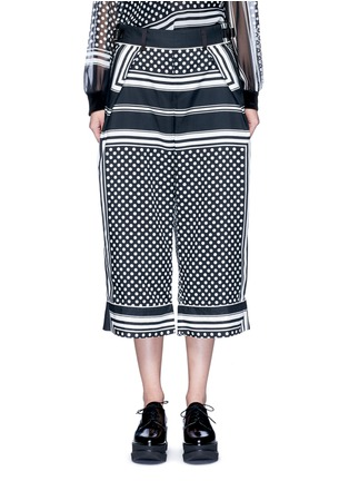 Main View - Click To Enlarge - Sacai - Dot scarf print culottes