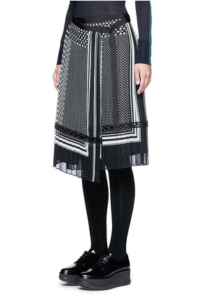 Front View - Click To Enlarge - Sacai - Dot scarf print pleated wrap midi skirt