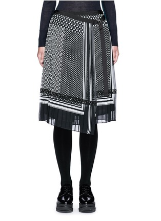 Main View - Click To Enlarge - Sacai - Dot scarf print pleated wrap midi skirt