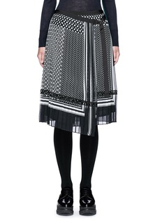 Sacai Dot scarf print pleated wrap midi skirt
