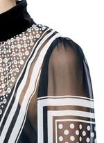 Knit back dot scarf print neck tie blouse