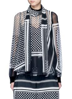 SacaiKnit back dot scarf print neck tie blouse