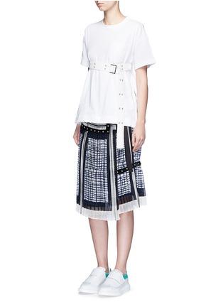 Sacai-'Runway' velvet stud trim geometric print plissé skirt