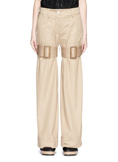 SacaiStrap cotton gabardine flare pants
